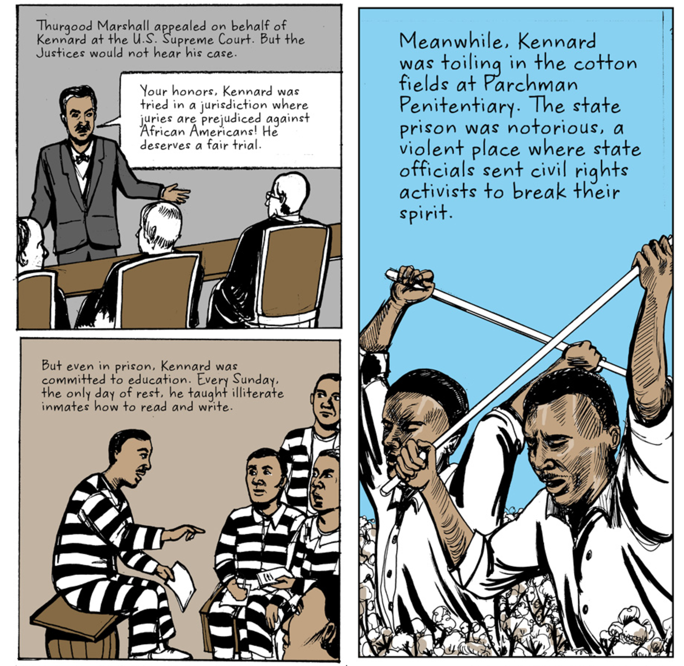Panels from Clyde Kennard story for Hechinger Report, by Sukjong Hong